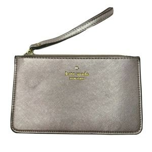 Kate Spade New York Leather Wristlet Rose Gold Zipper Pouch